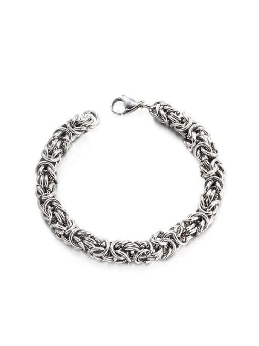 Steel color (8mm*19cm) Titanium Steel Geometric Hip Hop Woven Bracelet