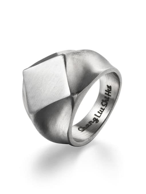 Steel color (size 8) Titanium Steel Irregular Vintage Band Ring