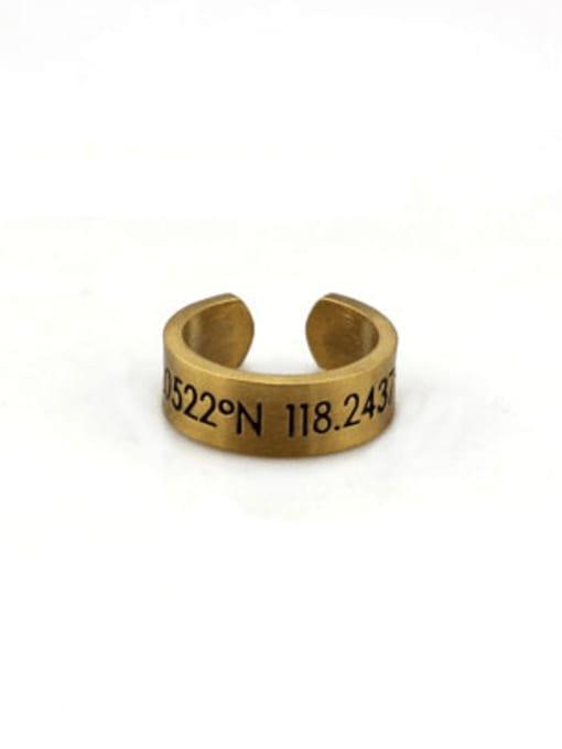Gold (size 6) Titanium Steel Number Vintage Band Ring