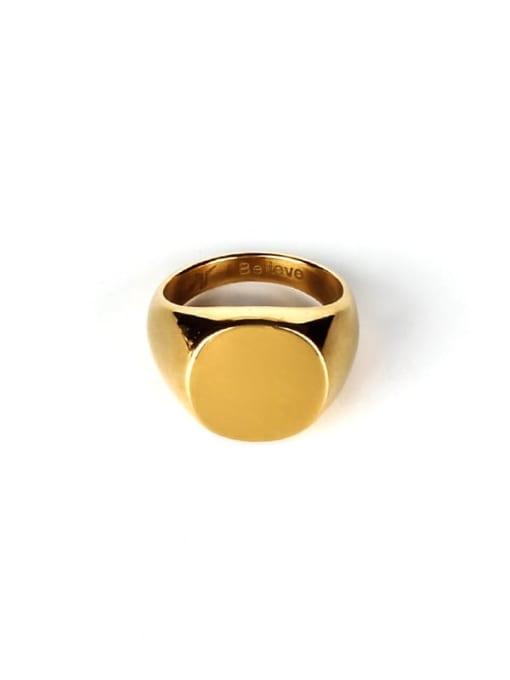 golden Titanium Steel Geometric Hip Hop Band Ring