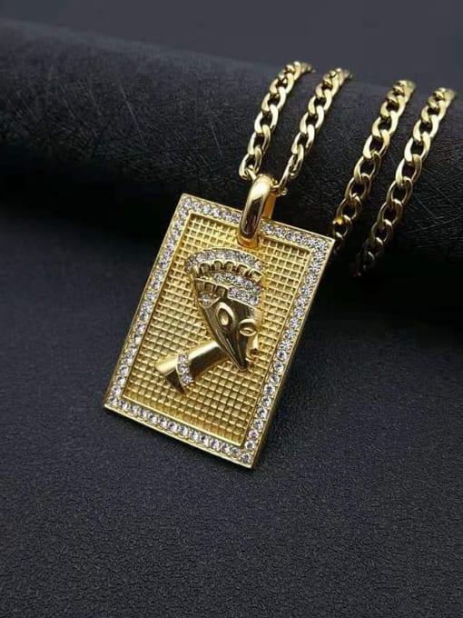 HI HOP Titanium Steel Rhinestone Geometric Vintage Necklace 2