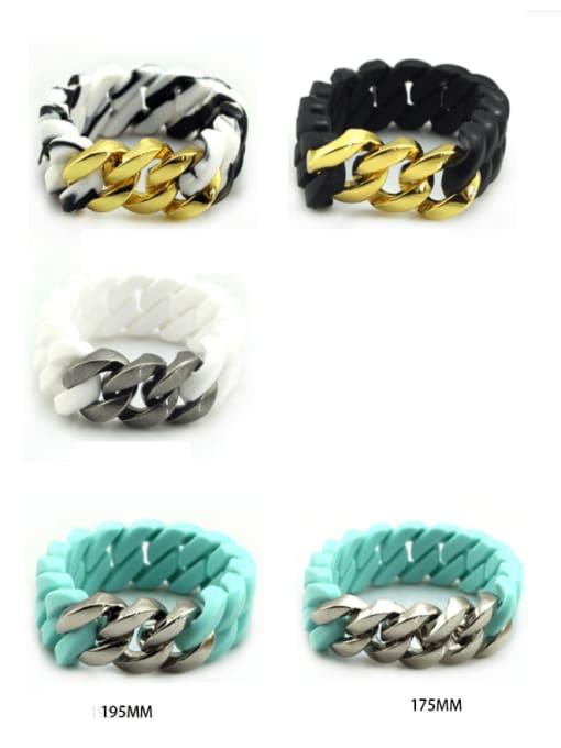 WOLF Titanium Steel Resin Geometric Hip Hop Link Bracelet 0