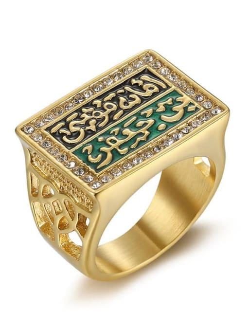 Gold Titanium Steel Enamel Geometric Vintage Band Ring
