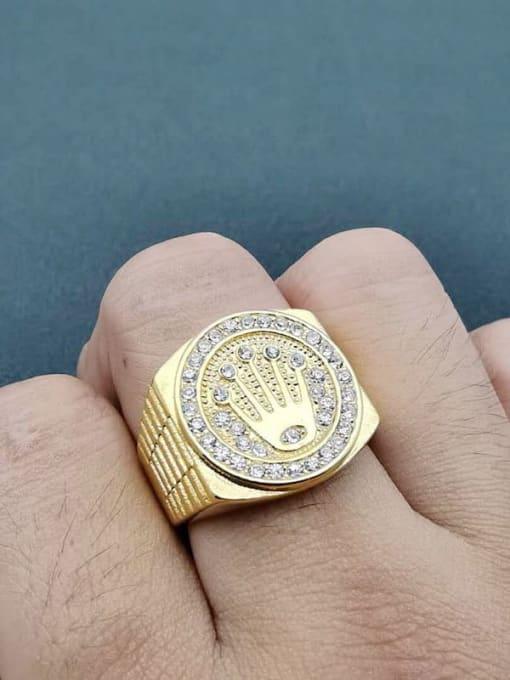 HI HOP Titanium Steel Rhinestone Crown Hip Hop Band Ring 1