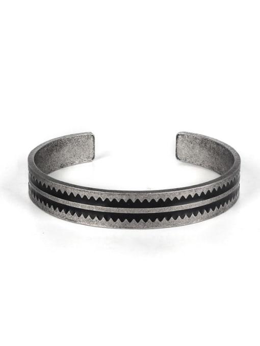 Ancient Titanium Steel Round Hip Hop Cuff Bangle