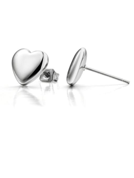 Steel color Titanium Steel  Smooth Heart Minimalist Stud Earring