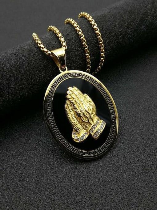 Gold chain+3mm*61cm Titanium Steel Religious Vintage Regligious Necklace