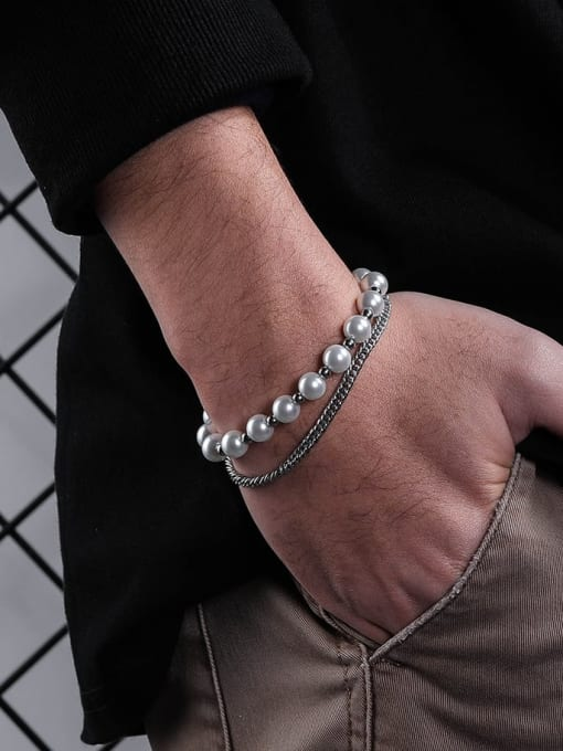 WOLF Titanium Steel Imitation Pearl Irregular Hip Hop Strand Bracelet 3
