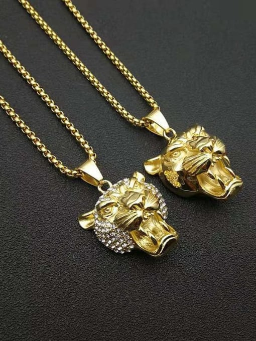 HI HOP Titanium Steel Rhinestone Lion Vintage Necklace