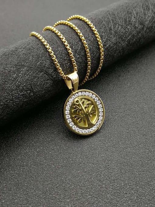 Gold +Chain 2cm*61cm Titanium Steel Rhinestone Tree Vintage Necklace