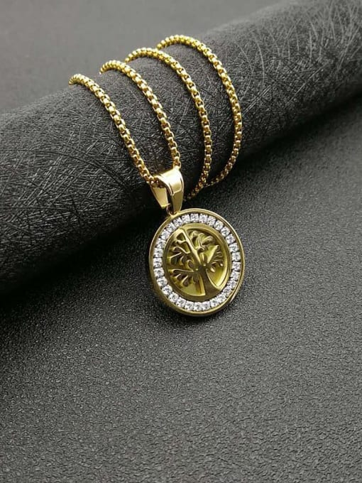 HI HOP Titanium Steel Rhinestone Tree Vintage Necklace 3