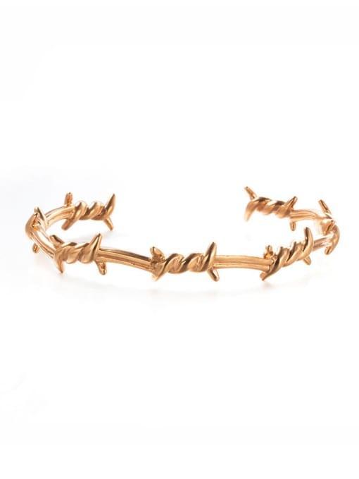 Rose Gold Titanium Steel Irregular Hip Hop Cuff Bangle