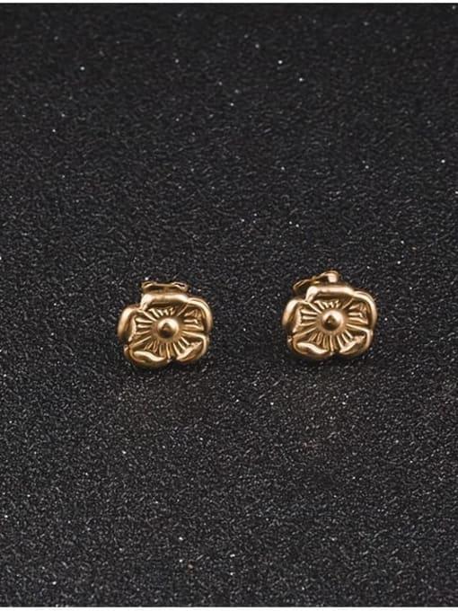 WOLF Titanium Steel Flower Minimalist Stud Earring 1
