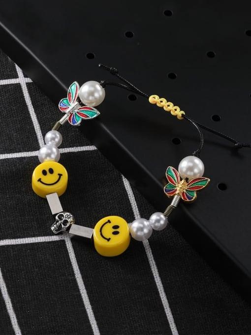 WOLF Titanium Steel Imitation Pearl Enamel Dice Hip Hop Adjustable Bracelet 1