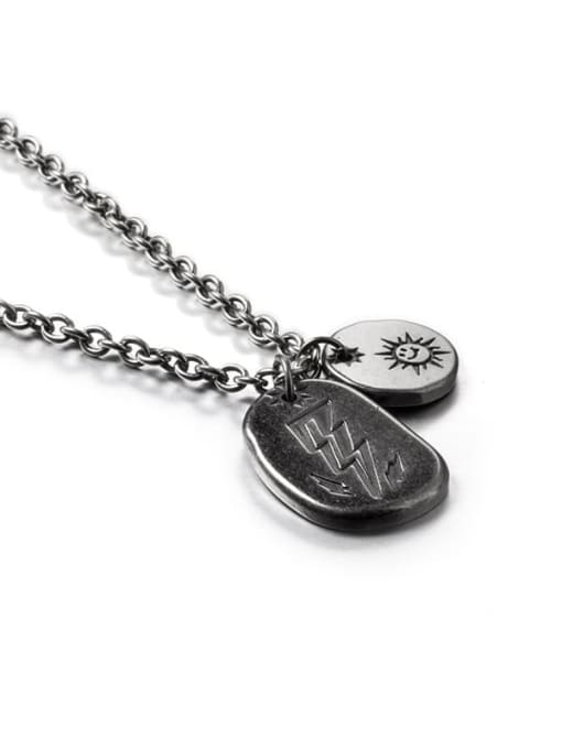 WOLF Titanium Steel Geometric Hip Hop Long Strand Necklace 2