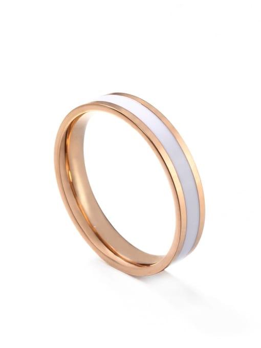 Rose Gold White gum Titanium Steel Enamel Round Minimalist Band Ring