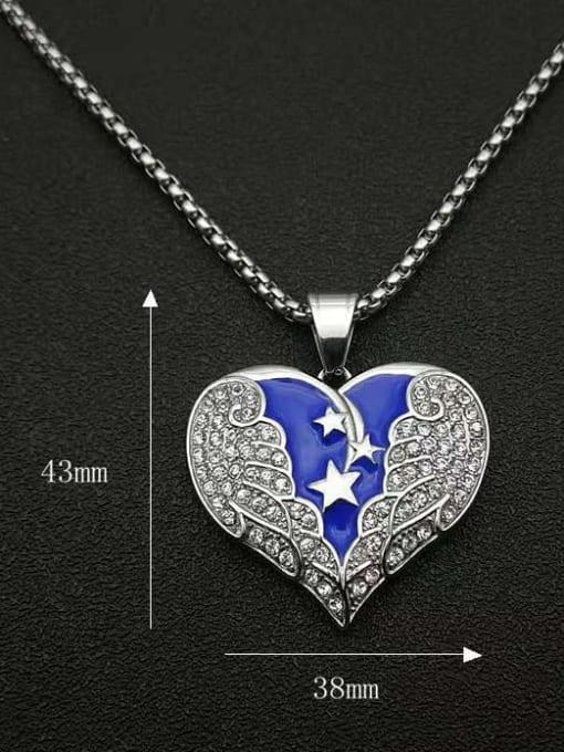 HI HOP Titanium Steel Cubic Zirconia Enamel Heart Vintage Necklace 1