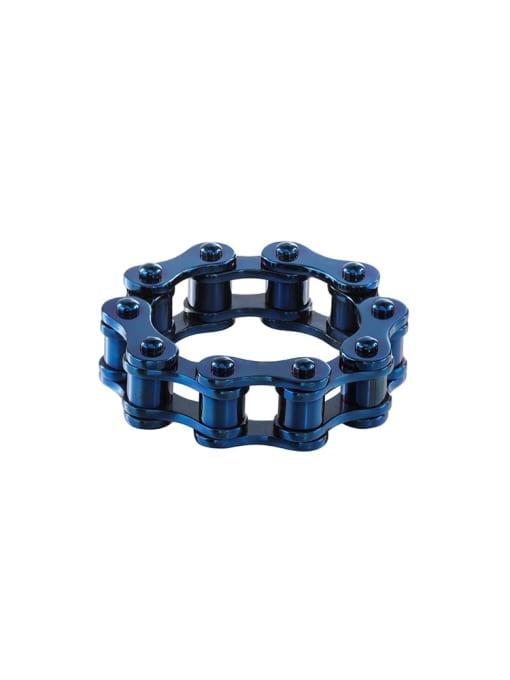 blue Titanium Steel Irregular Vintage Band Ring