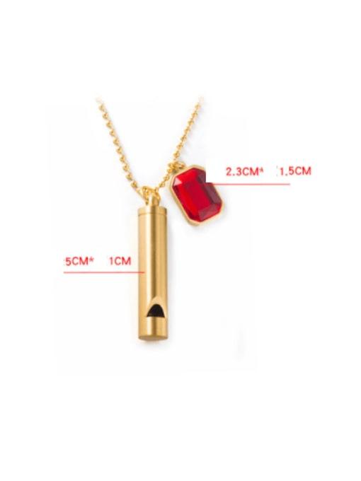 WOLF Titanium Steel Glass Stone Geometric Minimalist Long Strand Necklace 2