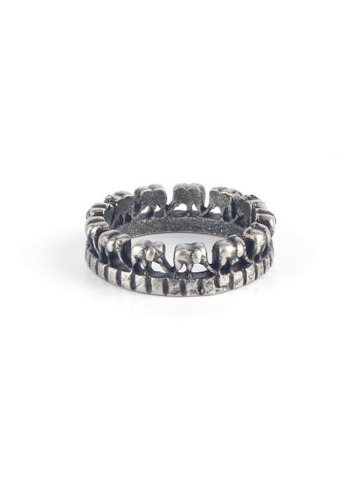 Antique  (size 6) Titanium Steel Irregular Vintage Band Ring
