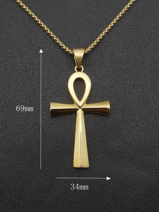 HI HOP Titanium Steel Smooth Cross Vintage Necklace 1