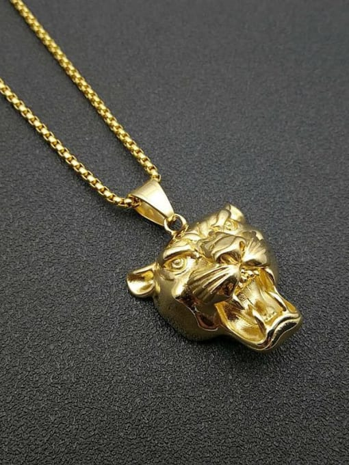 Gold Chain+3mm*61cm Titanium Steel Rhinestone Lion Vintage Necklace