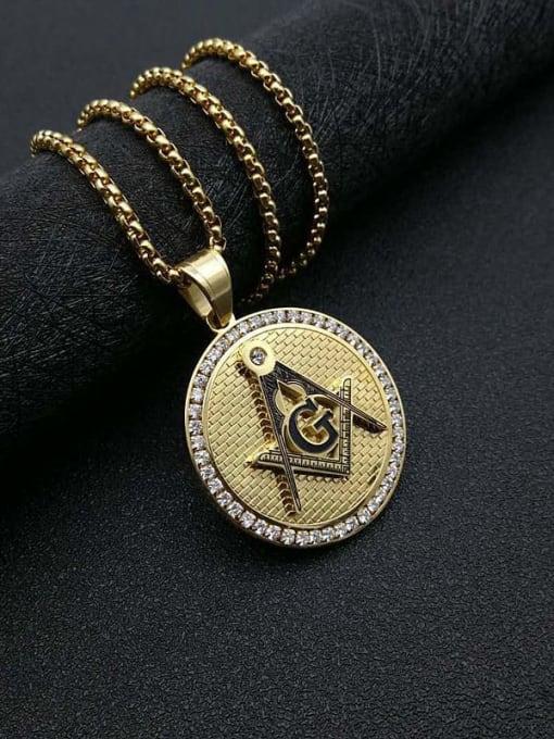 Gold +Chain  3mm *61cm Titanium Steel Religious Vintage Necklace