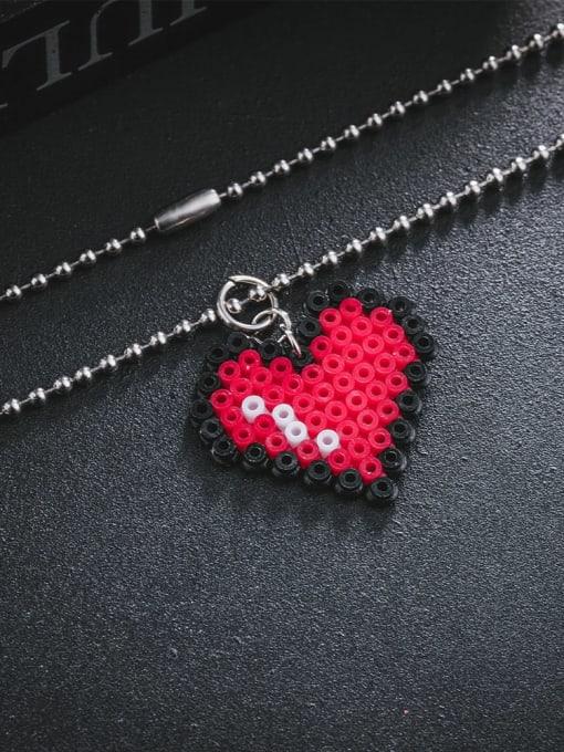 WOLF Stainless steel Bead Heart Minimalist Necklace 2