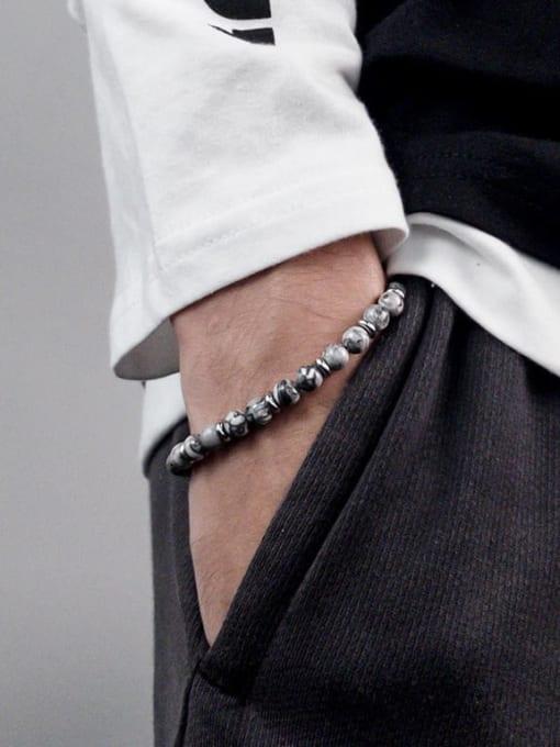 WOLF Titanium Steel Obsidian Geometric Vintage Beaded Bracelet 1