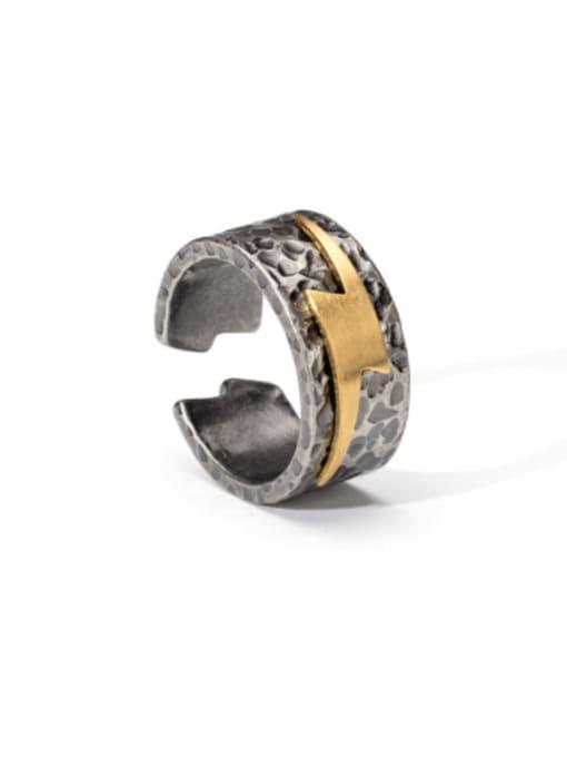 WOLF Titanium Steel Irregular Vintage Band Ring 0