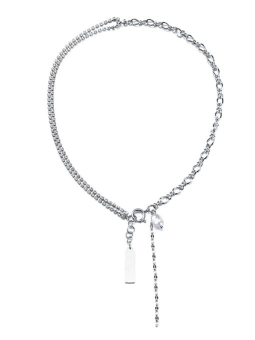 WOLF Titanium Steel Imitation Pearl Geometric Hip Hop Lariat Necklace 3
