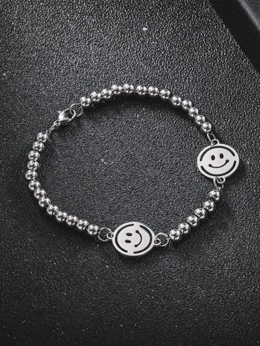 WOLF Titanium Steel Smiley Minimalist Beaded Bracelet 1