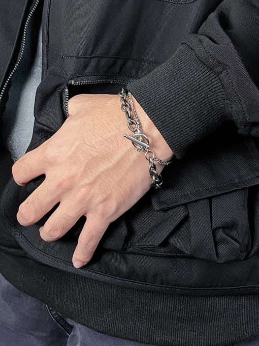 WOLF Titanium Steel Hollow Chain Hip Hop Strand Bracelet 1