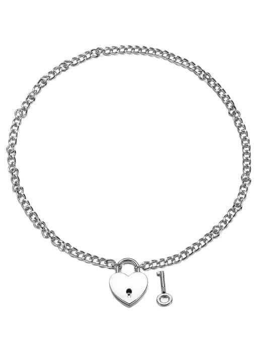 WOLF Titanium Steel Heart Hip Hop Necklace 0