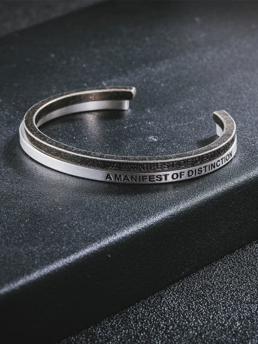 WOLF Titanium Steel Geometric Minimalist Cuff Bangle 1