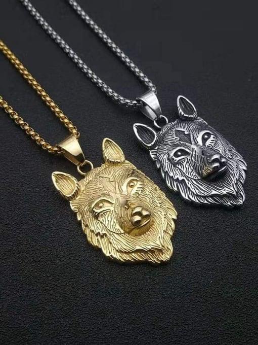 HI HOP Titanium Steel Rhinestone Wolf Vintage Necklace
