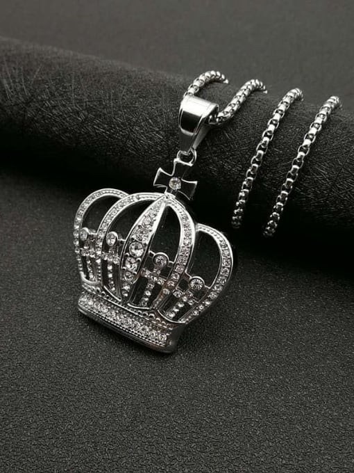 Steel color+Chain:3mm*61cm Titanium Steel Rhinestone Crown Vintage Necklace