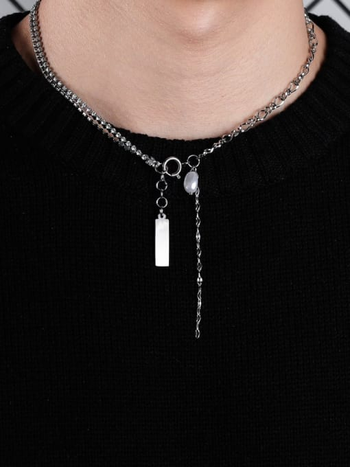 WOLF Titanium Steel Imitation Pearl Geometric Hip Hop Lariat Necklace 1