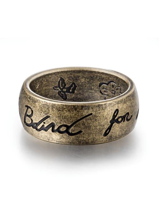 WOLF Titanium Steel Flower Vintage Band Ring 1