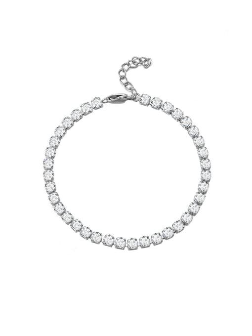 Steel color 3*18cm Titanium Steel Cubic Zirconia Geometric Minimalist Link Bracelet
