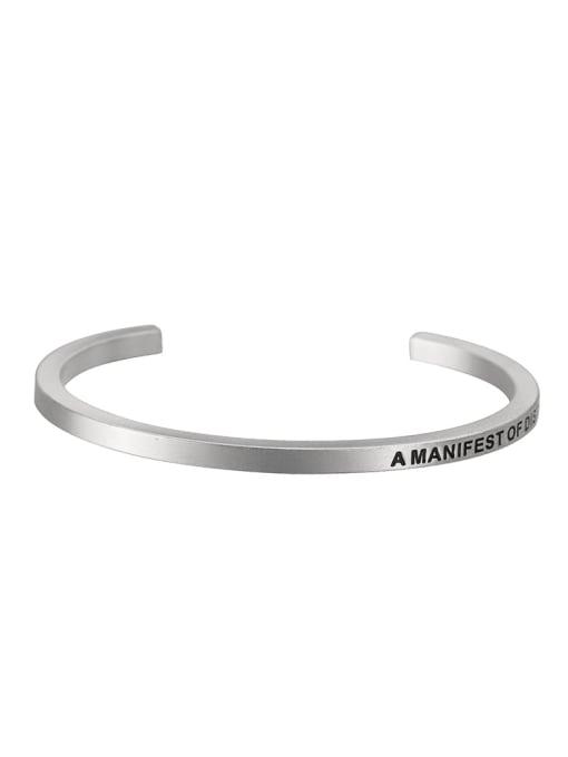 WOLF Titanium Steel Geometric Minimalist Cuff Bangle 0