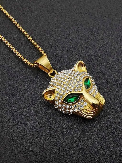 Gold + Chain 3mm*61cm Titanium Steel Rhinestone Leopard Vintage Pendant Necklace