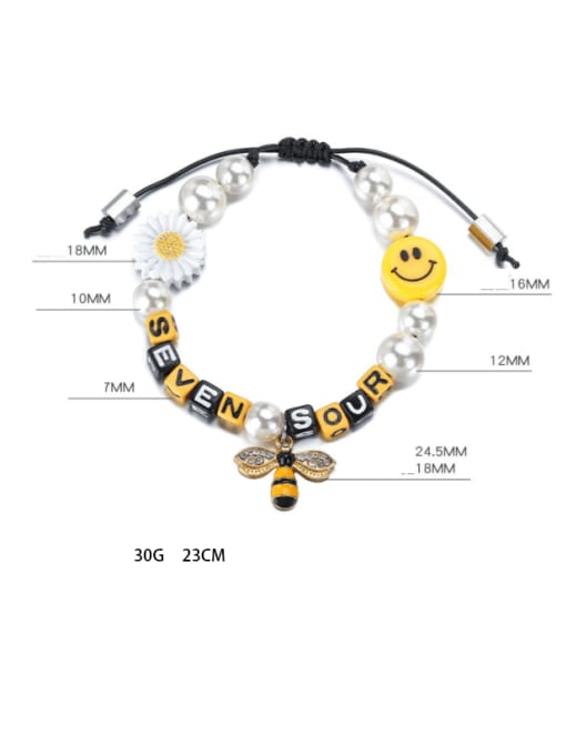 WOLF Alloy Imitation Pearl Enamel Bee Hip Hop Adjustable Bracelet 2