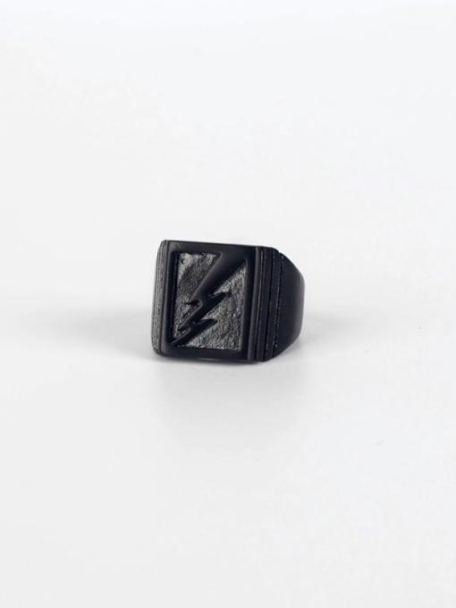 Black (size 6) Titanium Steel Geometric Hip Hop Band Ring