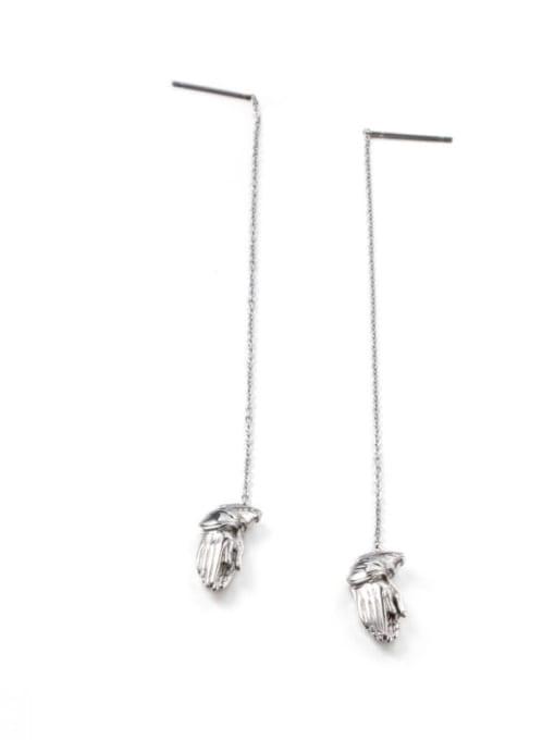 Steel color Titanium Steel Tassel Minimalist Threader Earring
