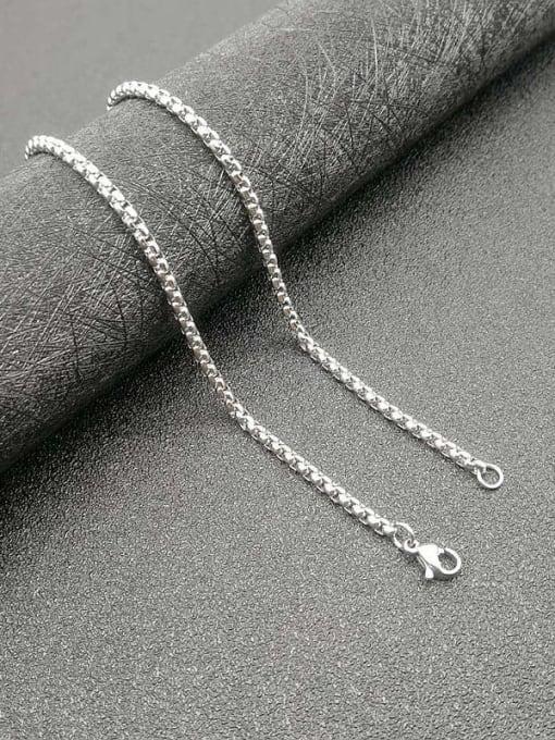 Steel color :3mm*61cm Titanium Steel Rhinestone Wolf Vintage Necklace