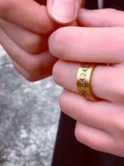 WOLF Titanium Steel Number Vintage Band Ring 1