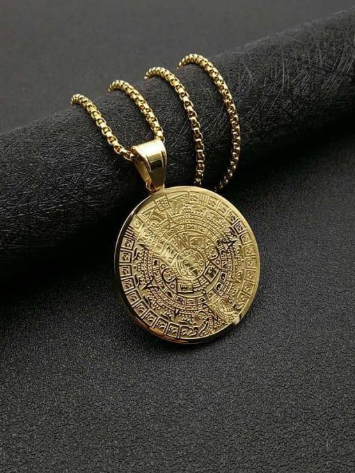 Gold +Chain 3mm*61cm Titanium Steel Religious Vintage Necklace