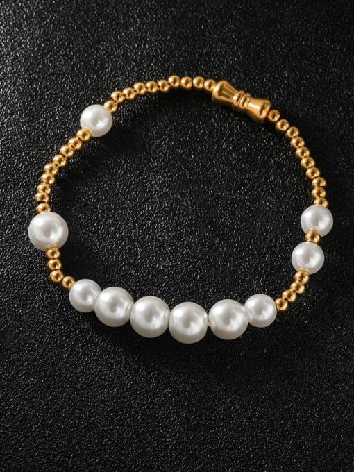WOLF Titanium Steel Imitation Pearl Round Minimalist Beaded Bracelet 0