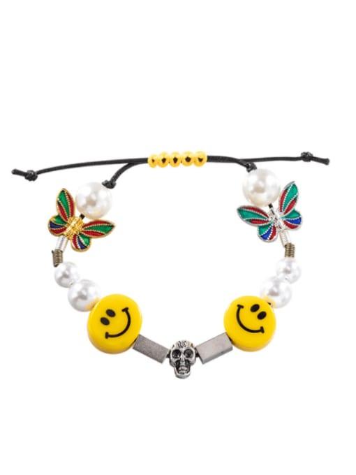 WOLF Titanium Steel Imitation Pearl Enamel Dice Hip Hop Adjustable Bracelet